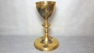Sterling Silver Chalice Ornate Jeweled Amethyst Stones Gold Plated Church
