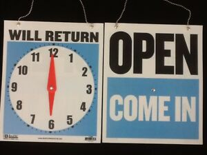 Open Closed Will Return Sign Clock Chain 2 Sided 9 X 7 Plus Free Suction Cup