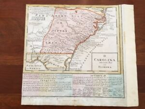 Rare 1740 Map Of Carolina Georgia Florida Homann Heirs Iroquois Chesapeake
