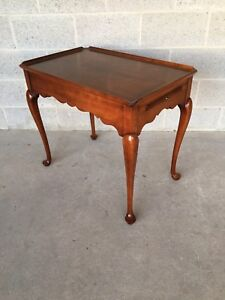Statton Old Towne Solid Cherry Queen Anne Style Tea Table End Table