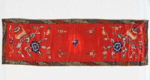 Antique Chinese Silk Embroidery Panel 35 Red Floral Table Runner Blue Orange