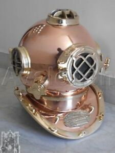 Vintage Scuba Diver Solid Brass Antique Divers Diving Helmet Us Navy Mark V 18