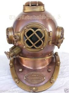 Antique Us Navy Boston Diving Divers Helmet Full 18 Inch Deep Sea Scuba Helmet