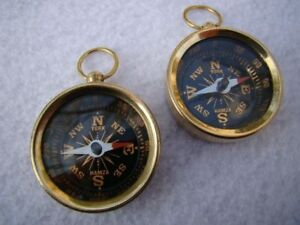 Set Of 2 X Brass Pocket Compass Nautical Maritime Navigation Camping Hiking