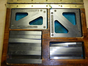 Machinist Setup Angle Bars Plates And Triangles In Wooden Case Jig Fixture