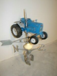 Vintage Farm Weathervane Ford Big Blue Tractor Metal Folk Art Handmade Ooak