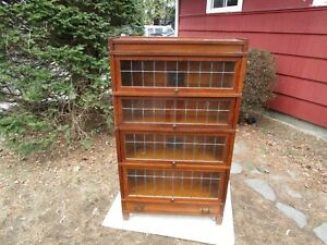 Antique Globe Wernicke C 1910 Leaded 4 Section Oak Mission Barrister Bookcase