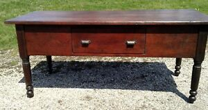 Primitive Harvest Work Table Pine Traces Of Old Red In Finish Antique 1900s Era