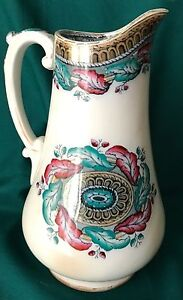 Antique Victorian Staffordshire Pitcher Acorn With Polychrome Highlights