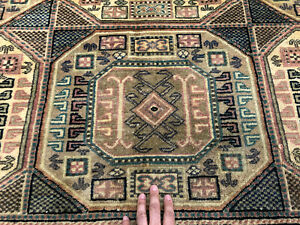 7x10 Caucasian Persian Rug Antique Hand Knotted Wool Geometric Rugs 6x10 6x9 Ft