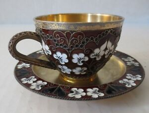Soviet Russian 916 Gilt Silver Enamel Tea Cup With Saucer