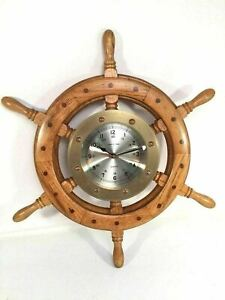 Ships Time Vintage Quartz Wall Clock Ships Wheel Brass Nautical Time Collectible