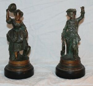 French France Spelter Peasant Pair Statues Metal Vintage Garden Bronze Duck Bird