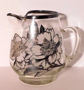 Sterling Silver Floral Overlay Glass Pitcher W Ice Lip 8