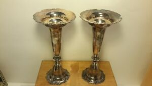 Vintage Japanese 950 Sterling Silver Candlesticks Or Vases Pair Original Box