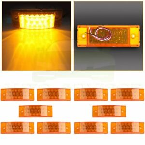 Qty 10 Amber Led Rectangle Tail Stop Marker Light Trailer Truck Rv 3 Wires 20led