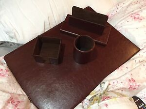 400 Munari Italy New 4pcs Desk Set 100 Leather Dark Brown Folder