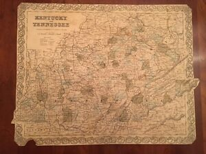 Rare 1855 Kentcuky Tennessee Large Colton Engraved Broadside Map Railroads