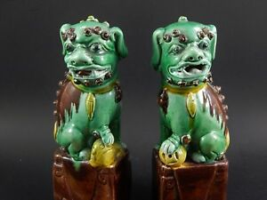 Antique Chinese Export Sancai Glazed Biscuit Porcelain Buddhistic Foo Lions 6 5