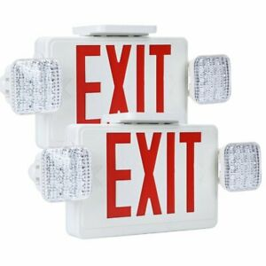 2 Pack Emergency Exit Sign Single double Face Led W 2 Head Lights Ul Certified