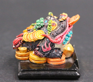 Chinese Antique Resin Wucai Colorful Painting Jinbao Statue