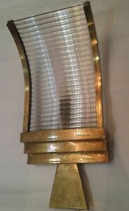 Vintage Old Art Deco Skyscraper Brass Glass Rod Ship Light Wall Sconces Lamp