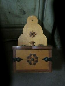 Vintage Folk Art Hand Made Wooden Spice Box Wall Hanging Iron Inlaid