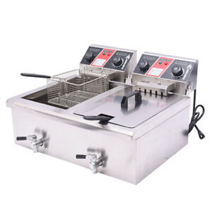 23 4l Commercial Electric Deep Fryer Dual Tank With Timers And Drains French Fry