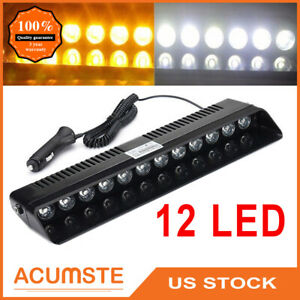 Us Amber White 12 Led Auto Windshield Strobe Light Emergency Flash Warning Lamp