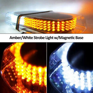 Amber White Roof Top Flashing Emergency Warning Strobe Lights Bar 240 Leds