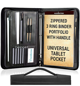 Wundermax Portfolio Binder A Zippered Padfolio With Handle 3 Ring Binder Pu
