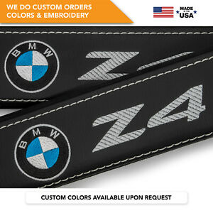 Car Seat Belt Covers Leather Custom Shoulder Pads Bmw Z4 Gray Embroidery 2 Pcs