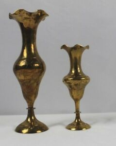 2 Antique Small Decorative Brass Engraved Vases From India