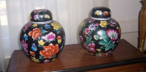 Vintage Pair Of Chinese Ginger Jars Hand Painted Multi Color Flowers On Black