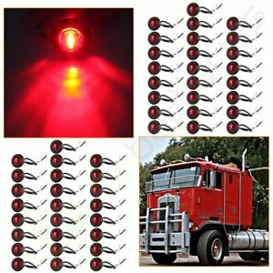 50 For Suv Jeep Rv Truck Round 1 Red Led Side Marker Indicator Bullet Light