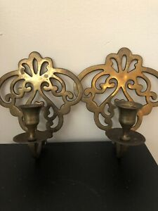 2 Vintage Brass Wall Sconce Ornate Pair Design