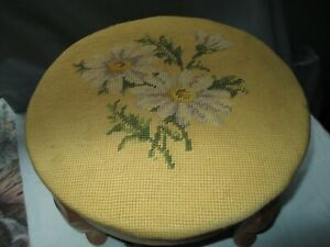 Antique Vintage Paxton Needlepoint Floral Foot Stool Round Shape Original Label