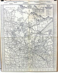 Langwith S Official 1926 Motor Trails Map Of Minnesota 19 X 24