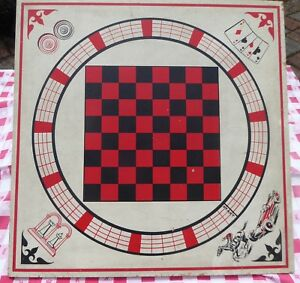 Retro Wooden Game Board 26 Black Red Checkers Horse Car Race Chess Wall Decor