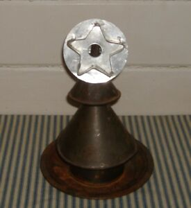 Primitive Antique Tin Funnel Christmas Tree With A Star Cookie Cutter Topper