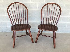 New Country By Ethan Allen Pair Of Hoop Back Side Chairs Finish 260