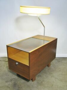 1950s George Nelson For Herman Miller Table Lamp With Glass Top Single Drawer