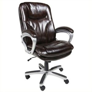 Pemberly Row Office Chair In Brown Faux Leather