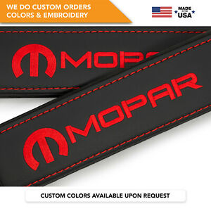 Car Seat Belt Covers Leather Custom Made Shoulder Pads Red Embroidery Mopar
