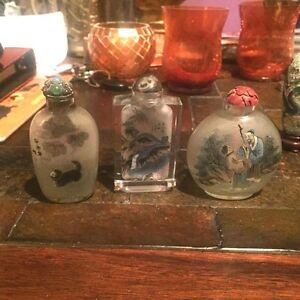 Snuff Bottle China Antique And Vintage Inside Out Painting Set Of 3