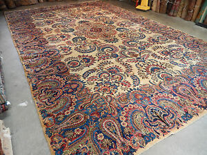 Antique Persian Rug Floral Lovely Large Handwoven Carpet 11 X 17 5 Amazing