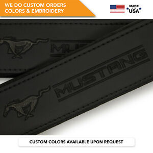 Ford Mustang Total Black Embroidery Car Seat Belt Covers Shoulder Pads 2 Pcs