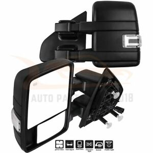 For 2004 2014 Ford F150 Pair Fold Power Signal Puddle Light Heated Tow Mirrors