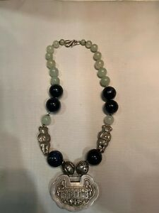 Antique Chinese Jade Lapis Silver Lock Large Beads Necklace