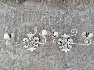 Vintage Pair Of Wall Sconces Shabby Chic Chippy Ivory White Ornate Flower Tulip